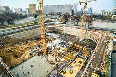 Zdjęcie z drona placu budowy w Katowicach