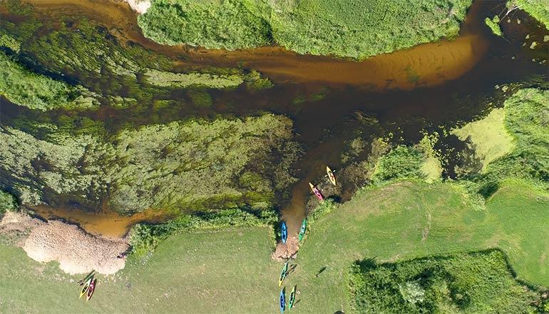 Ujęcia z drona na sprzedaż - Rzeka Wkra