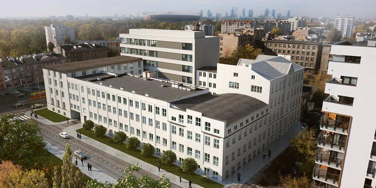 Wizualizacja architektoniczna wykonana na zdjęciu z drona