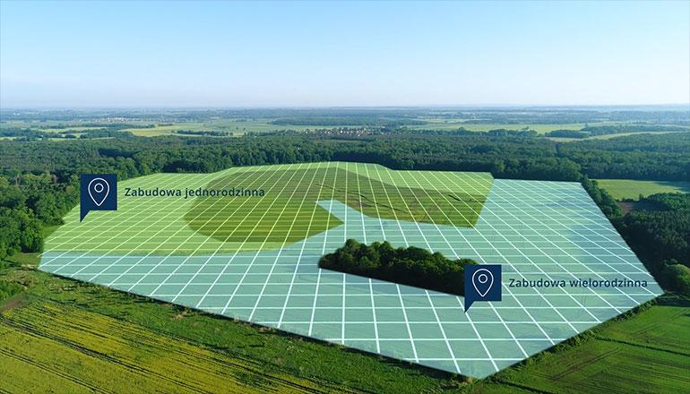 Film inwestycyjny terenów pod Wrocławiem - ujęcia z drona i animacje