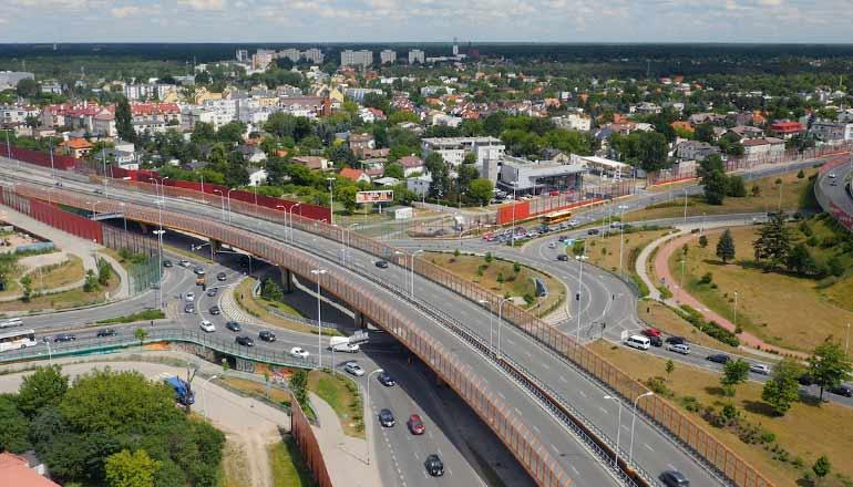 Ujęcia z lotu ptaka na sprzedaż - Węzły drogowe na trasie mostu Siekierkowskiego