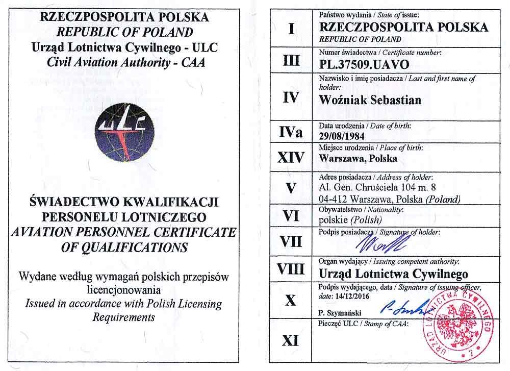 Drone X Vision - Uprawnienia i licencja UAVO - Urząd lotnictwa cywilnego (ULC) - Sebastian Woźniak