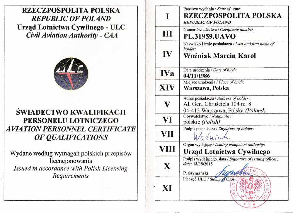 Drone X Vision - Uprawnienia i licencja UAVO - Urząd lotnictwa cywilnego (ULC) - Marcin Woźniak