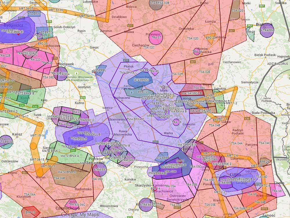 Strefy powietrzne w Polsce - latanie dronami - filmowanie z powietrza - uprawnienia UAVO