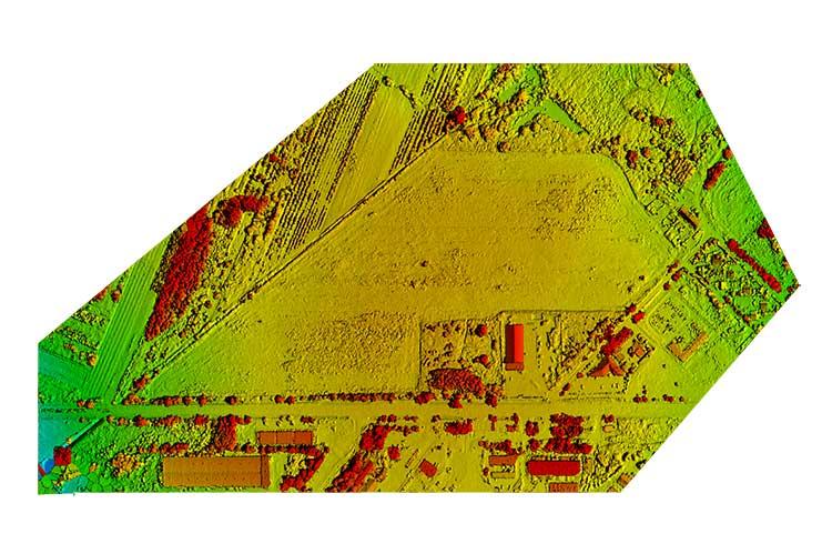 Chmura punktów, cyfrowy model powierzchni DTS i cyfrowy model terenu DTM