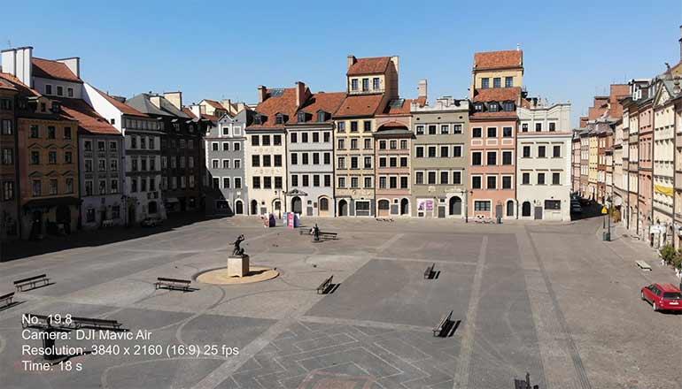 Ujęcia z drona na sprzedaż Warszawa i Stare Miasto podczas pandemii Covid-19 - Stock video