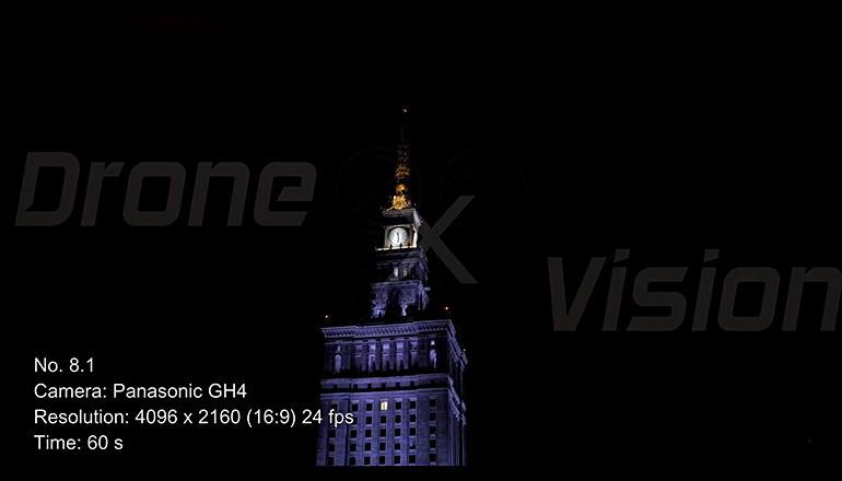 Ujęcia z drona na sprzedaż 4K - Pałac Kultury i Nauki w Warszawie nocą - częśc 1