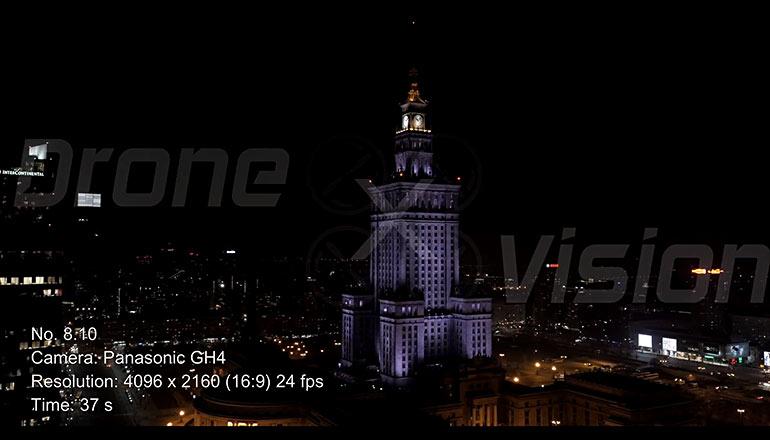 Ujęcia stockowe z drona na sprzedaż 4K - Pałac Kultury i Nauki w Warszawie nocą - część 2