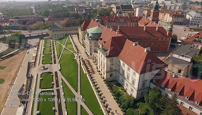 Ujęcia stockowe z powietrza na sprzedaż Zamku Królewskiego w Warszawie - część 3