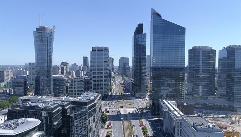 Ujęcia z drona na sprzedaż - Warszawa i rondo Daszyńskiego - od zachodu