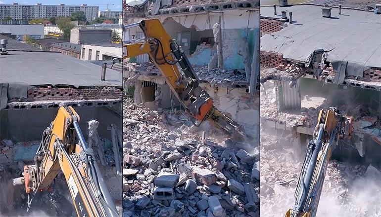 Film pokazujący proces wyburzania fabryki Drucianka w Warszawie