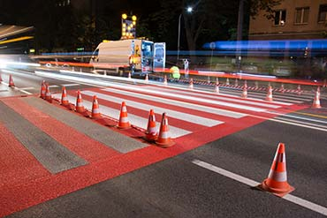 Drone X Vision - fotografia nocna modernizacji przejścia dla pieszych w Warszawie